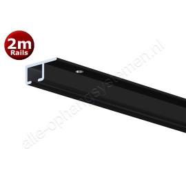 Artiteq top rail zwart anod - 200cm - Aktie set incl schroeven