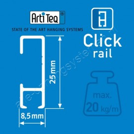 Artiteq Click Rail wit 150cm - overschilderbaar